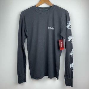 NWT Billabong retro black roses l/s T-shirt Sz XS